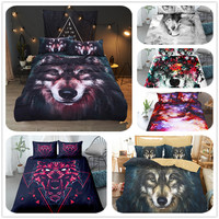 painting wolf digital art duvet/doona cover set single twin double queen king cal king size bed linen set