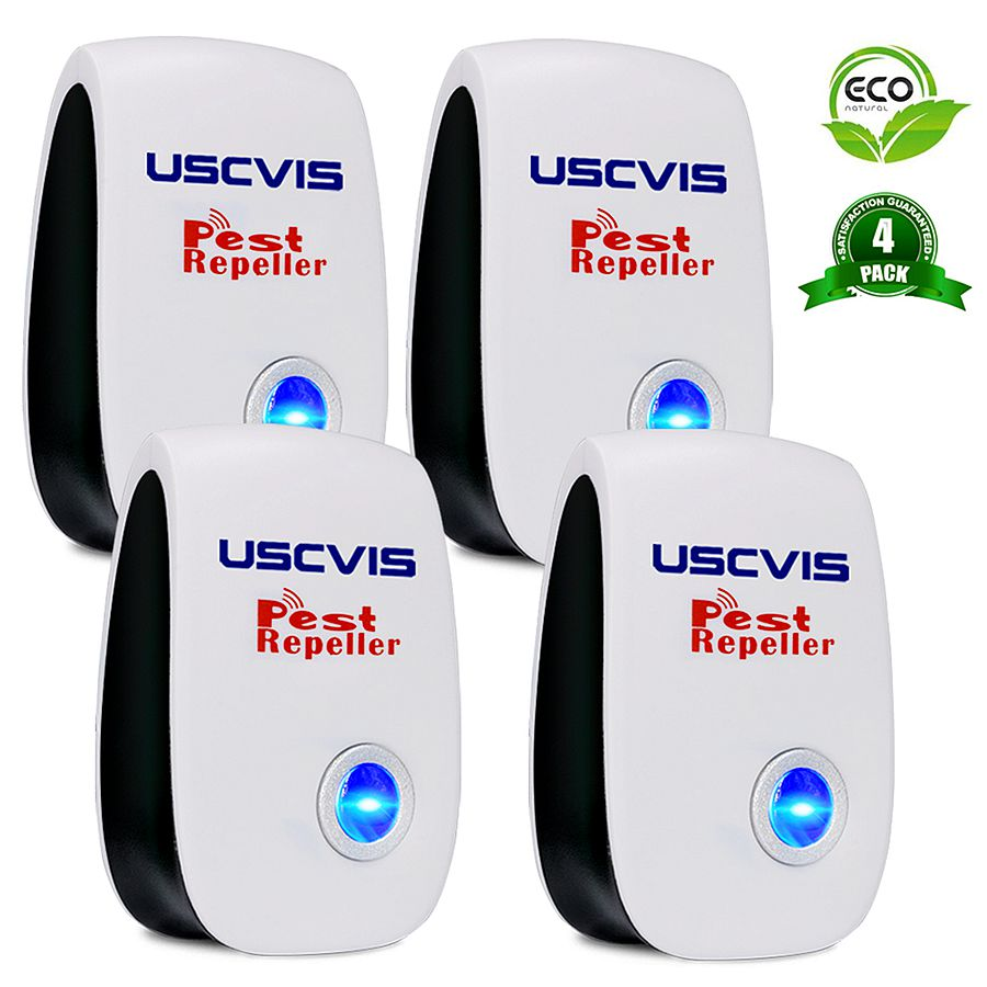 4 Pcs Ultrasonic Pest Repeller Electronic Pest Control Pest Repellent For Mosquitos, Ants, Flies, Moths