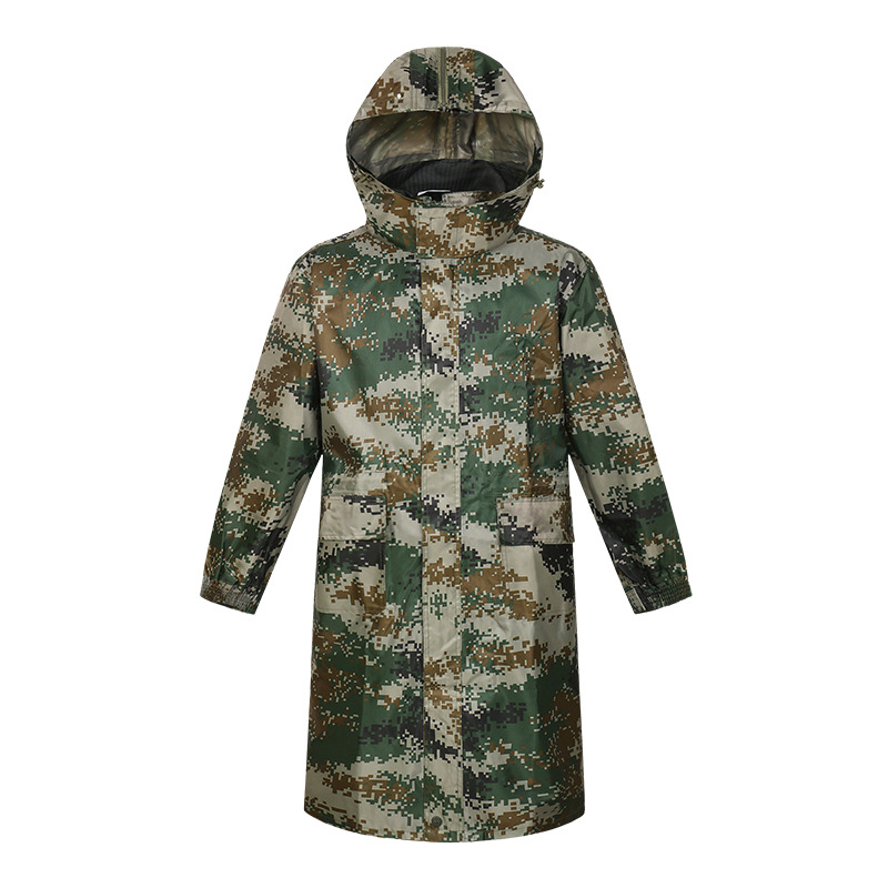 Digital Camouflage Army One-Piece Raincoat Long Raincoat Male Adult Raincoat Long Hooded Raincoat Female Long