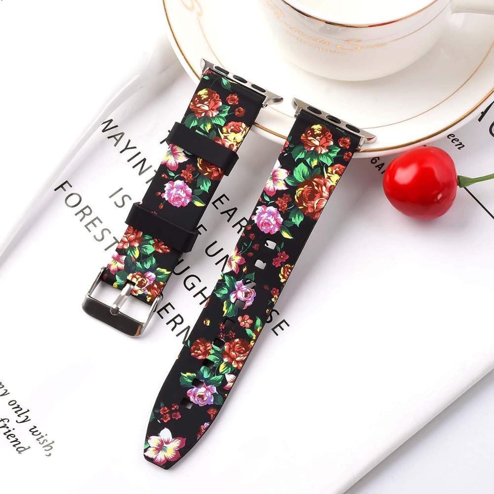 Flower patterns Silicone bracelet strap for apple watch band 4 44/ 40/42/38mm replacement iWatch series 3 2 1 Accessory