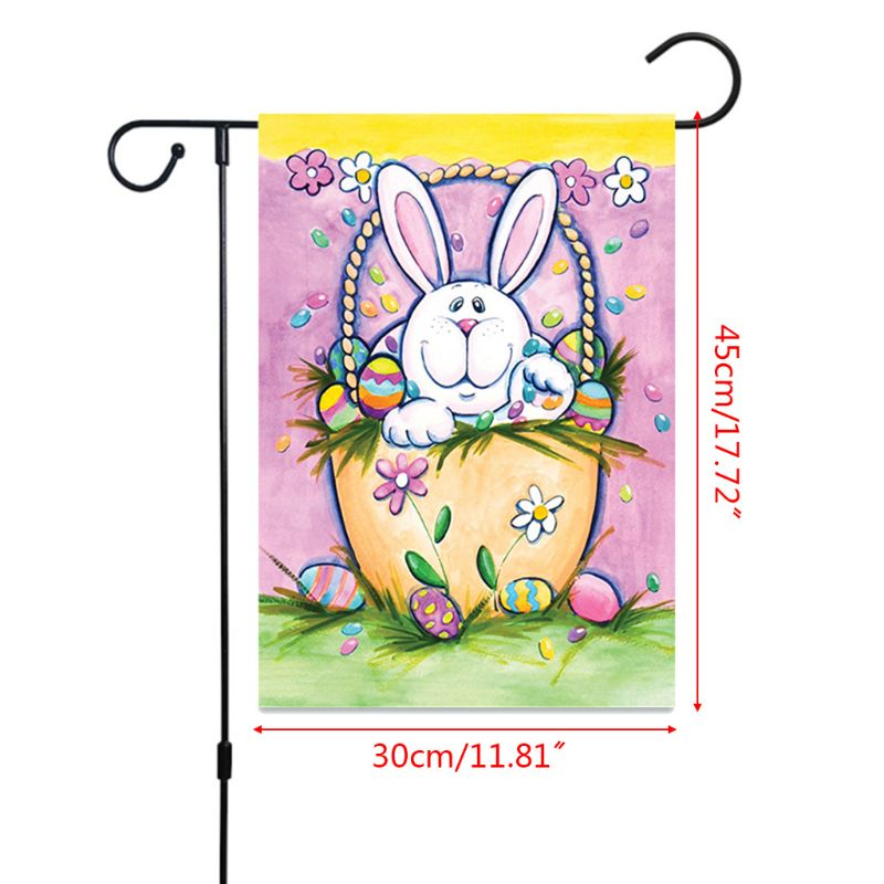 Easter Bunny and Eggs Fabric Double-sided Outdoor Garden Flag Yard Flags