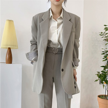 Vintage Women Blazer Suit Set Single-breasted Blazer Jacket