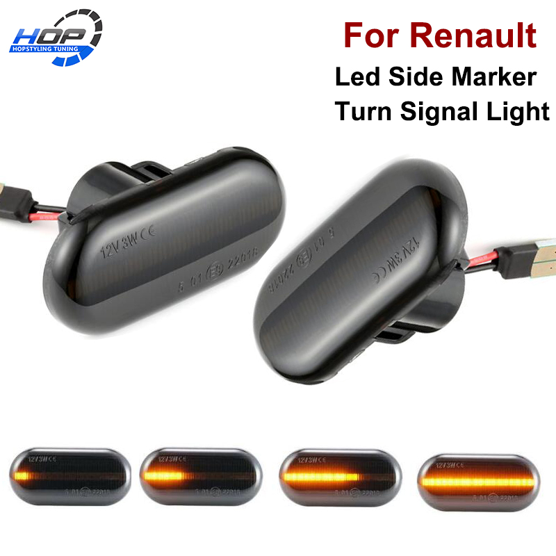 2x Dynamic LED Side Marker Turn Signal Lights Indicator Repeater Car Lights For Renault Megane 2  Clio Espace Kangoo Laguna