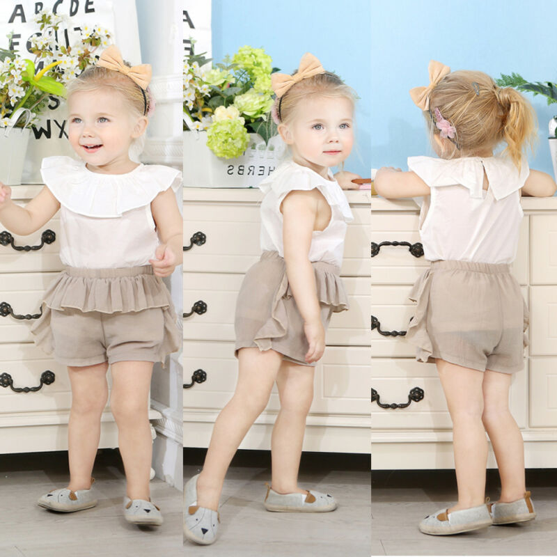 2pcs Toddler Kid Baby Girl Cotton Clothes Ruffle T Shirt Tops Shorts Outfits Set