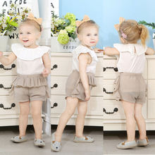 2pcs Toddler Kid Baby Girl Cotton Clothes Ruffle T Shirt Top