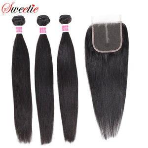Image 1 - 甘い毛ブラジル毛束ストレート閉鎖 100% 人毛 3 バンドルでレースクロージャー無料部分と非レミー髪