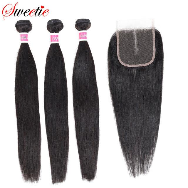 甘い毛ブラジル毛束ストレート閉鎖 100% 人毛 3 バンドルでレースクロージャー無料部分と非レミー髪