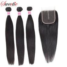 Sweet Hair mechones de pelo brasileño liso con cierre, cabello humano 100%, 3 mechones con cierre de encaje, pelo no Remy