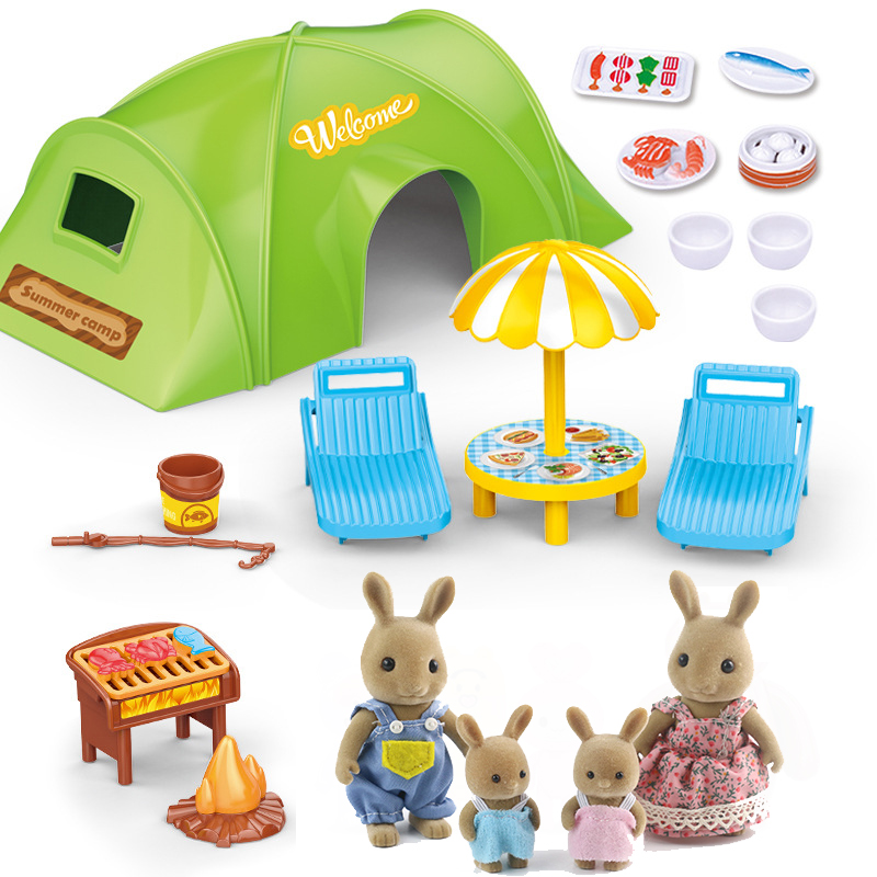 1:12 Scale Furniture Miniatura  Children's Simulation Forest Animal Family Picnic Tent Set Bunny Bear Miniature Toys For Girls