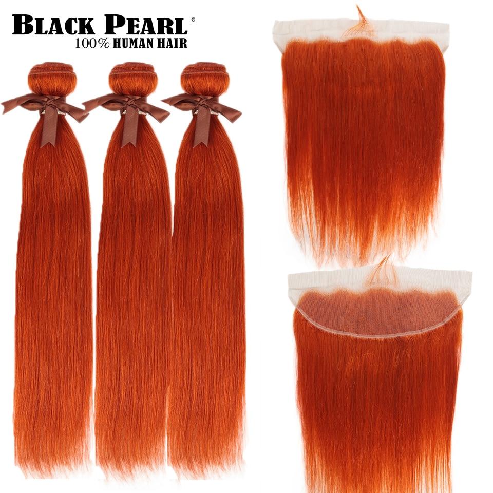 Black Pearl Orange Bundles With Frontal Straight Remy Hair Bundles Blonde Brazilian Hair Weave 2/3 Bundles With Frontal