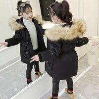 Детские зимние ветрозащитные толстые куртки с капюшоном для девочек 3, 4, 5, 6, 7, 8, 9, 10, 11, 12 лет, 3 цвета, повседневное пальто с капюшоном для дево...