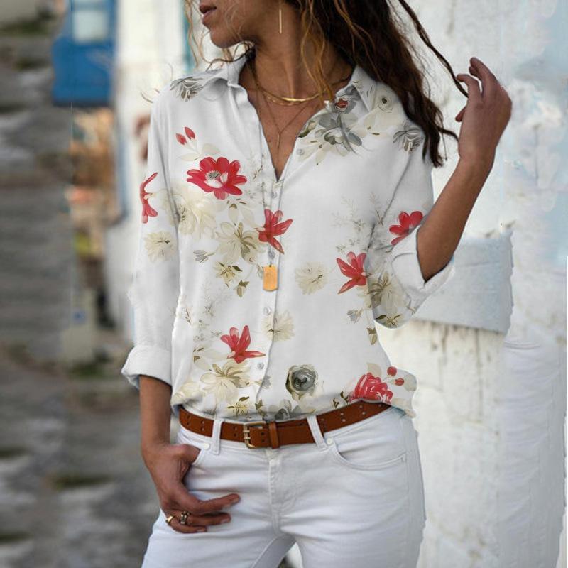 Women Tops Blouses 2019 Autumn Elegant Long Sleeve Print V-Neck Chiffon Blouse Female Work Wear Shirts Plus Size 5XL Lapel Blusa