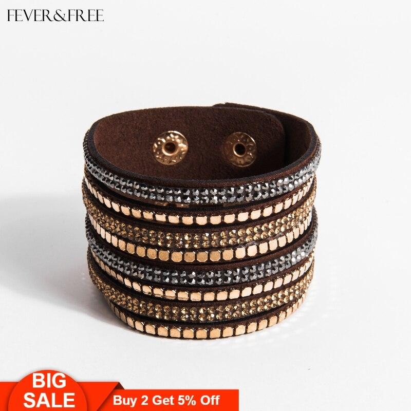 Fever&Free Boho Retro Wrap Bracelets Multilayer Crystal Punk Charm Bangles For Women Pulseira Masculina Trendy Jewelry
