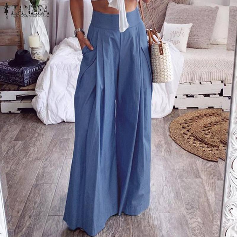 ZANZEA Women High Waist   Wide     Leg     Pants   Casual Pockets Long Trousers Cotton Linen   Pants   Back Zip Office Lady Work Chic Bottoms