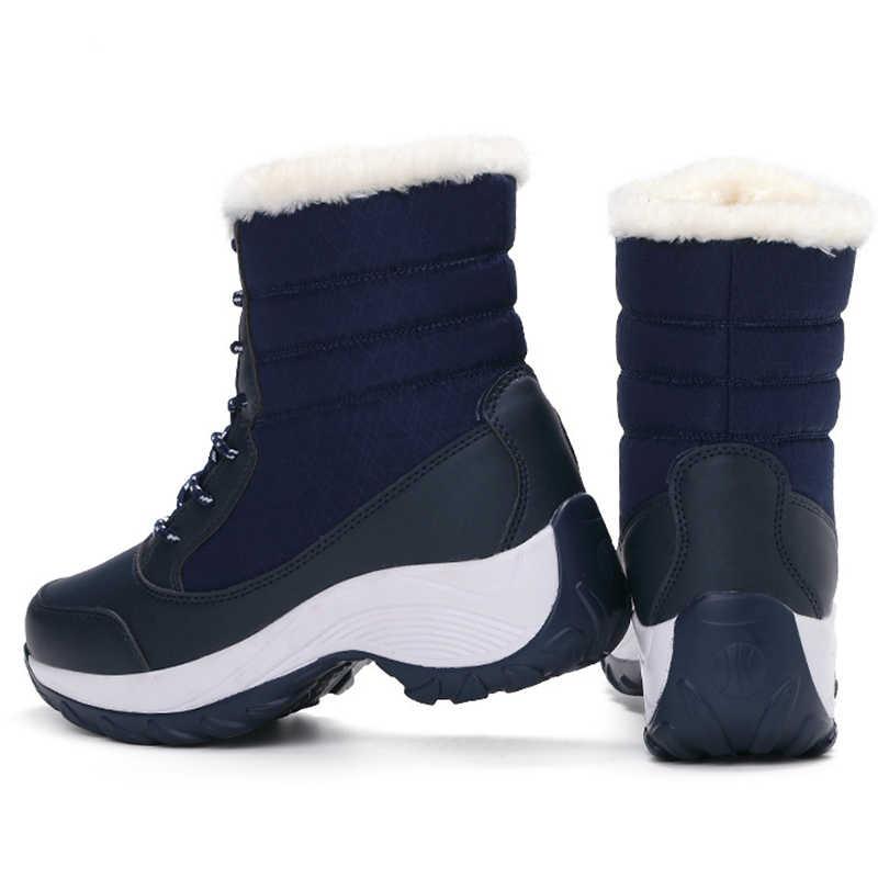 Vrouwen Laarzen 2019 Vrouwen Snowboots Fashion Lace Up Winter Schoenen Vrouwelijke Winter Warme Bont Platform Enkellaars Voor Vrouwen