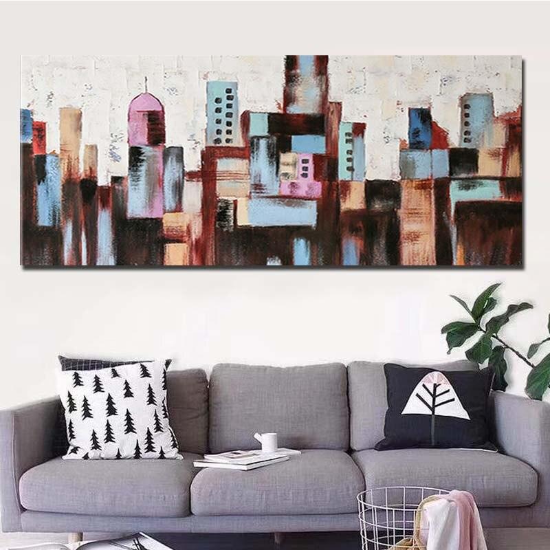 Hand Bemalt Abstrakten Stadt Gebäude Ölgemälde Abstrakte Wand Kunst Bild Wohnzimmer Schlafzimmer Home Decoration Drop Shipping - 2