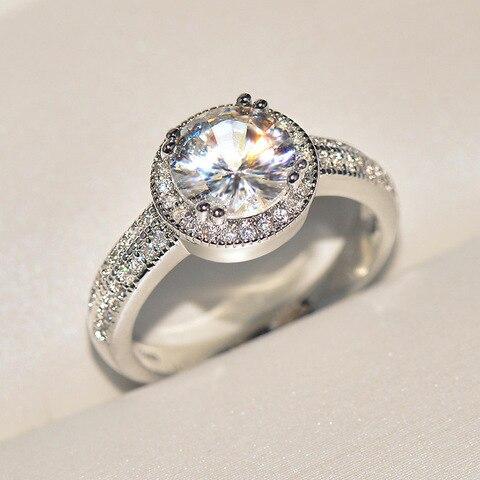 Большое кольцо серебряного цвета с цирконом для женщин модное
