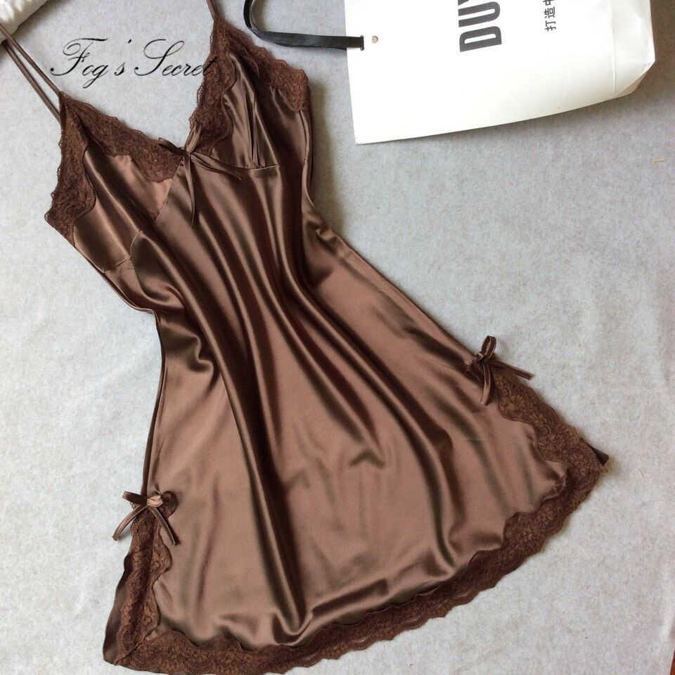 Frauen Nachthemd Sexy mini kleid Weiche Komfortable Satin Spitze Nachtwäsche nachthemd Sommer Herbst Sling V-ausschnitt camisola sexy