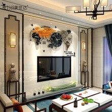 MEISD Hot Large World Map Clock Modern Design Acrylic World Watch Hanging Quartz Silent Room Horloge Living Room Free Shipping