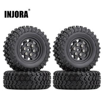INJORA 4PCS 49*18mm Beadlock Micro Crawler Wheel Rims Tires Set for 1/24 RC Crawler Car Axial SCX24 90081 1