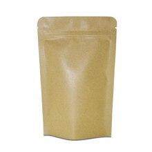 Brown Zip Lock Aluminum Foil Paper Bags Resealable Kraft Ziplock Package Bag Dried Food Sanck Bean Smell proof Storage