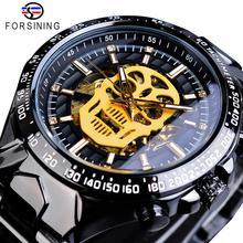 Forsining Creative Skull Bone Mens Mechanical Watch Automatic Steampunk Black Steel Belt Male Clock Wristwatch Relogio Masculino