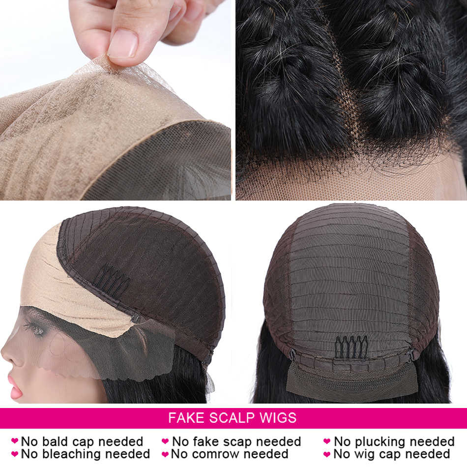 Unice ヘア 13*4/6 深部偽の頭皮かつらレースフロント見えないノットかつら事前摘み取らレースフロント人間髪かつらブラックフライデー取引