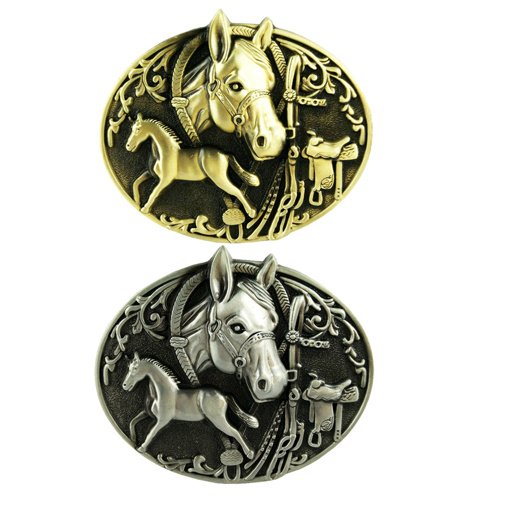 Double Horse Carving Belt Buckle Mens Metal Western Cowboy Leather Belt Jewelry  Cowboy Fine Horse Buckles For 3.6-3.9cm Belt