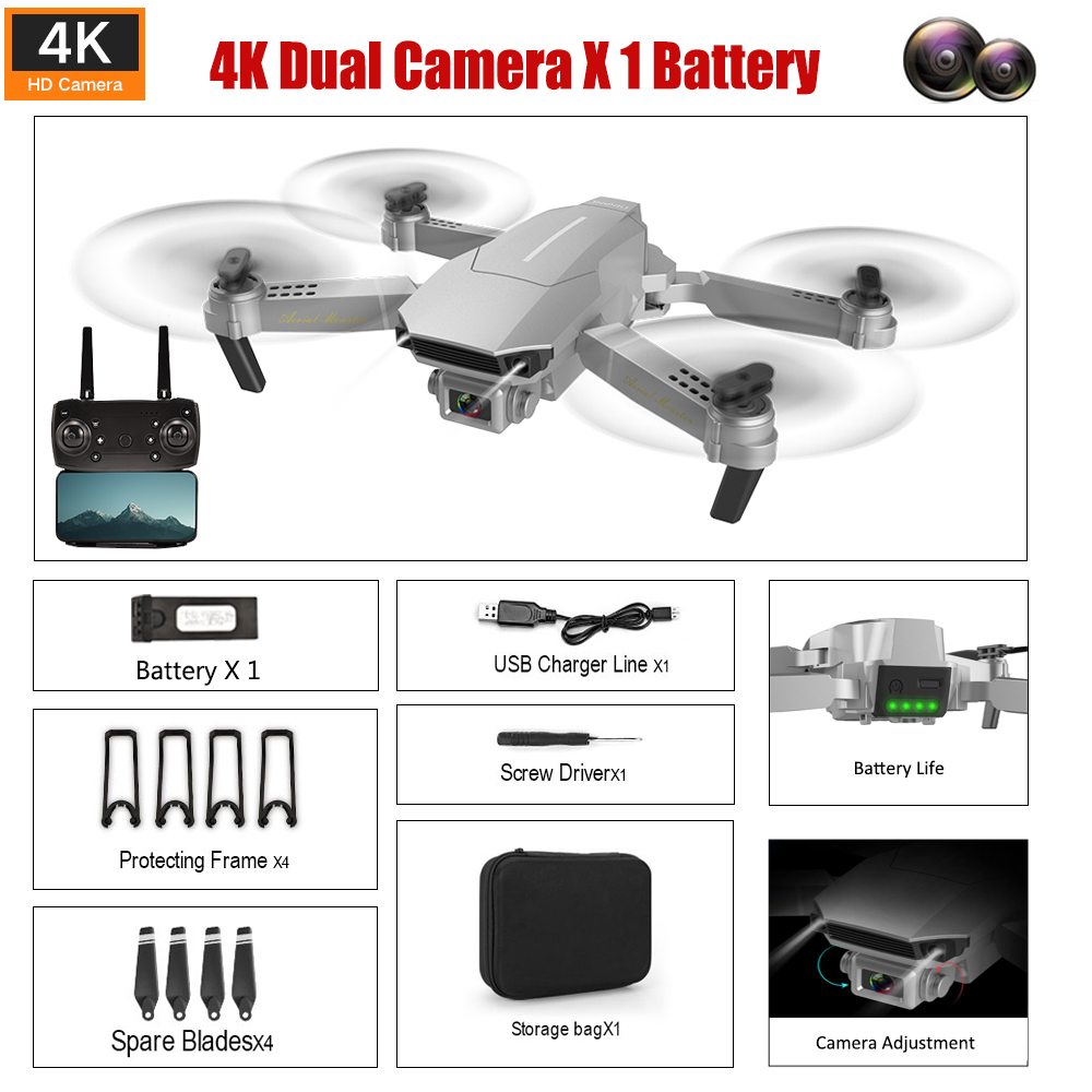 2020 New Limited Edition Drone Professional HD 1080P/4069P 4K 90° Camera Folding Drone Wireless Wifi Roll FPV Selfie RC Drone