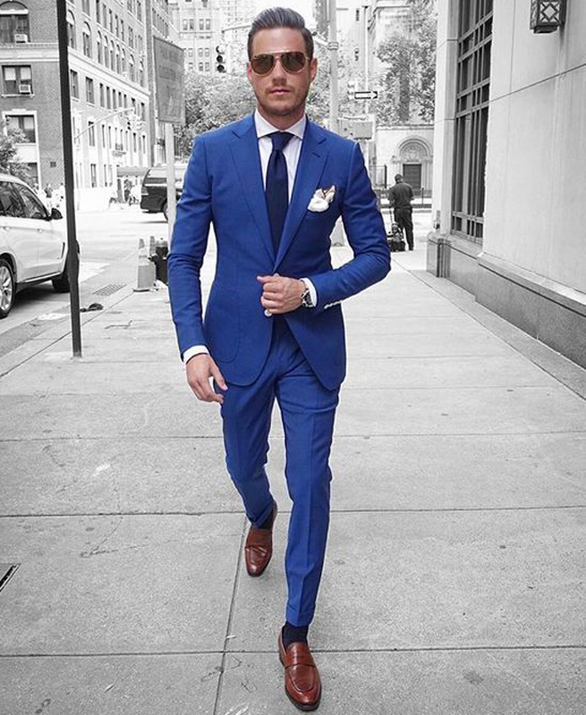 Spring Tailored Made Royal Blue Men Suits Groom Prom Custom Casual Tuxedo Slim Fit Terno Blazer Masculino 2 Pieces Jacket+Pants