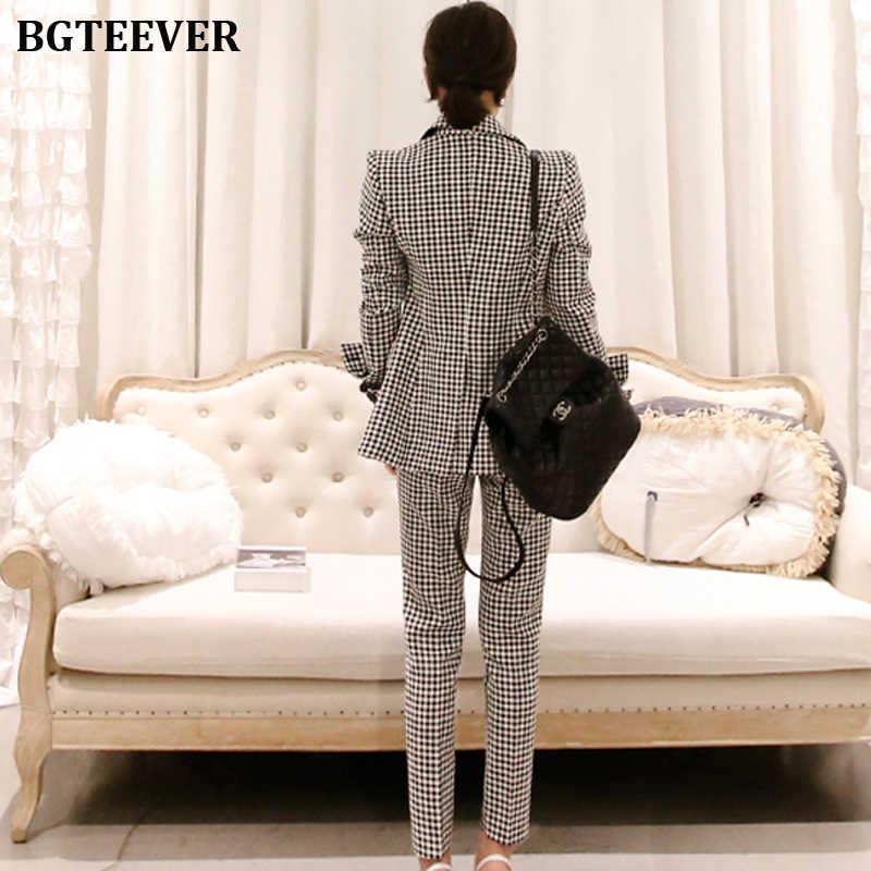 Trajes de pantalón de mujer de oficina chaqueta Blazer de doble pecho y pantalones hasta el tobillo ropa de trabajo a cuadros trajes femeninos conjunto de 2 piezas 2019