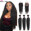 Ishow Deep Wave Bundles With Closure Human Hair Bundles With Closure Brazilian Hair Weave Bundles With Closure Non Remy Hair