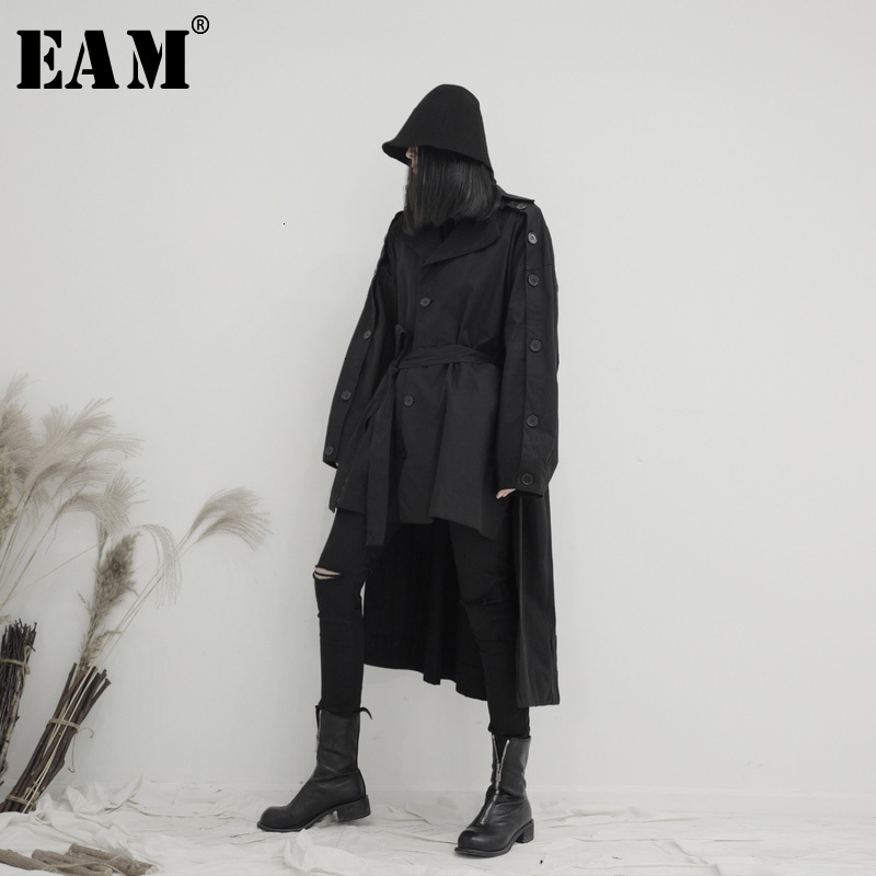 [EAM] Women Back Long Button Big Size Trench New Lapel Long Sleeve Loose Fit Windbreaker Fashion Spring Autumn 2020 19A-a667