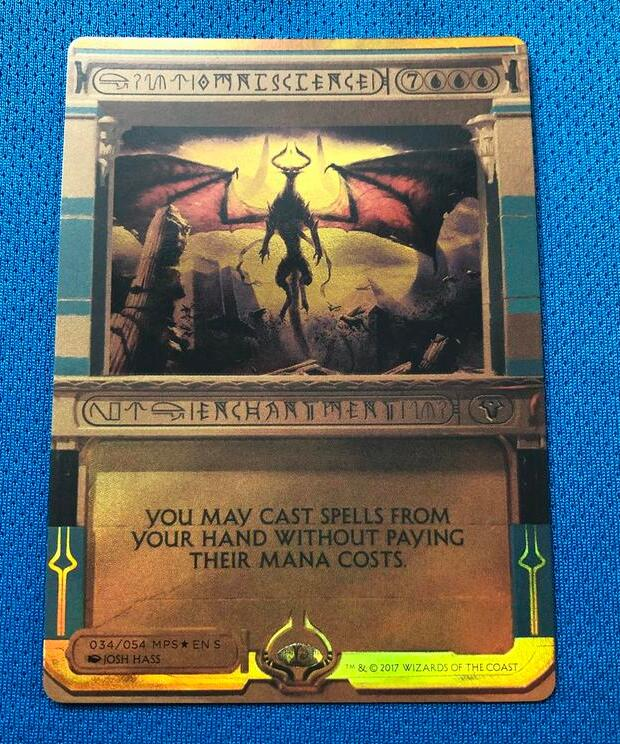 Omniscience Amonkhet Invocations (MP2) Golden Holofoil Magician ProxyKing 8.0 VIP The Proxy Cards To Gathering Single Mg Card.