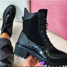 New 2020 Winter Women Boots Square Heel Snakeskin B