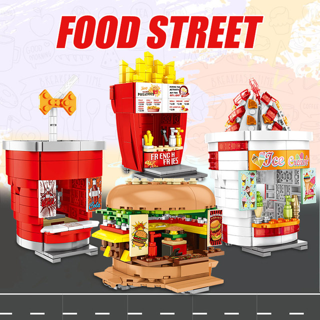 City Street View Ice Cream Shop Buildings Blocks For  Friends Hamburgers Food Street Store Bricks Sets Toys For Children
