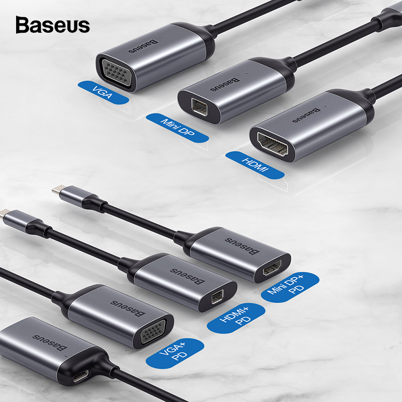 Baseus USB C HUB To HDMI 4K VGA Mini DP Adapter Type C Hub For MacBook Pro Air USB-C HUB Splitter Converter For Huawei Matebook