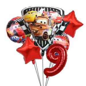 6 шт с машинкой Маккуин на день рождения щит воздушный шарик из фольги в форме Baby Shower вечерние украшения для детей 18 дюймов круглый прокат гелием шары игрушки для детей
