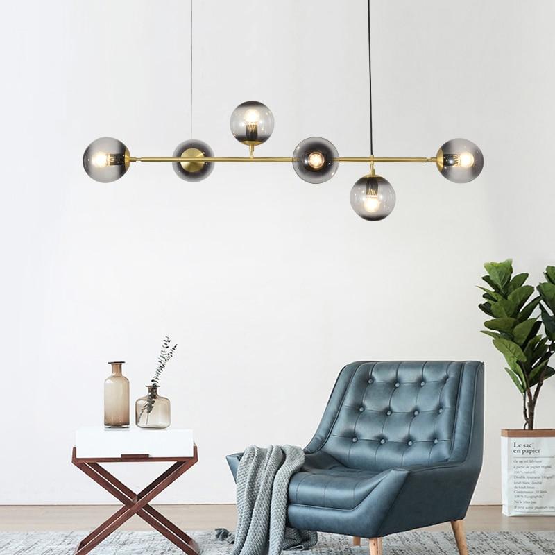 Modern Simple LED Pendant Light Iron Glass Ball Hanging Lamp Nordic Lighting Dining Room Pendan Lamp Iron Fixture