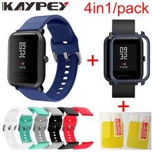 4in1 Silikon Handgelenk Strap Sport Armband Armband Fall Abdeckung für Xiaomi Huami Amazfit Bip BIT Smart Uhren Zubehör
