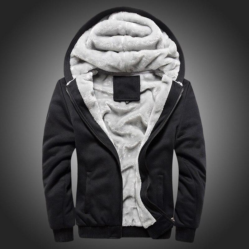 Мужская шерстяная бейсбольная Повседневная Хип хоп толстовка на молнии, пальто, зимние плотные теплые бархатные мужские плюшевые толстовк... - 3