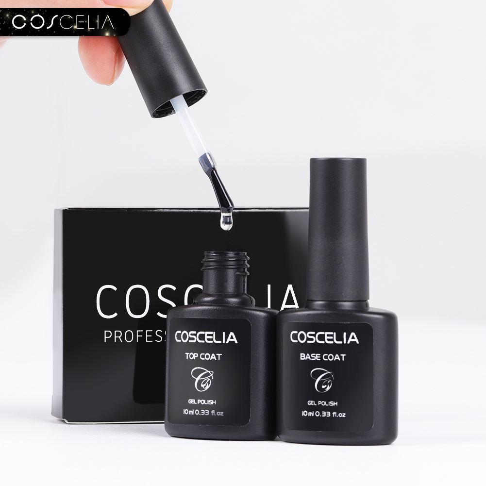 COSCELIA Coat-Set Base-Coat Top-Base Varnish Nail-Polish Semi-Permanant 10ML for Gel