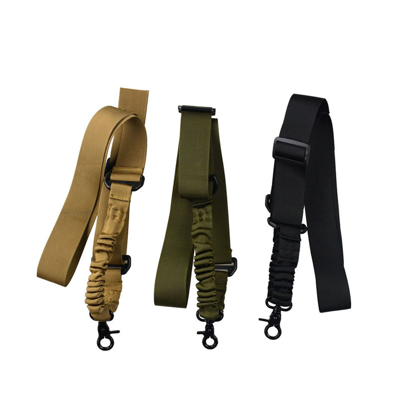 Multi-functional Tactical Single Point Sling Adjustable Shoulder Straps Bungee Rifle Outdoor Field Climbing Lanyard