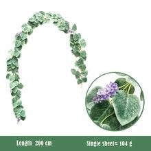 2M Artificial Green Eucalyptus Vines Rattan Fake Plants Ivy Wreath Wall Decor Vertical Garden Wedding Decoration