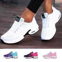 Baskets décontractées en maille pour femmes, chaussures de sport plates, roses, légères et souples, respirables, grande taille