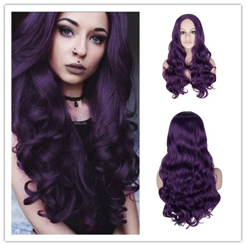 WHIMSICAL W Long Body Wave Wigs Natural Middle Part Heat Resistant Hair Synthetic Wig For Women Purple Color