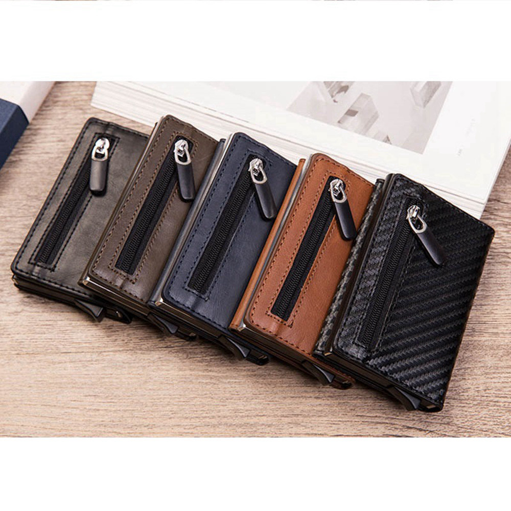 1 Piece Pu Leather Aluminum Business ID CreditCard Holder With RFID Block Reading Magnetic Closure Card Cases Mini Zipper Wallet