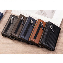 Creditcard-Holder Zipper Wallet Magnetic Rfid-Block Business-Id Aluminum Pu with Reading