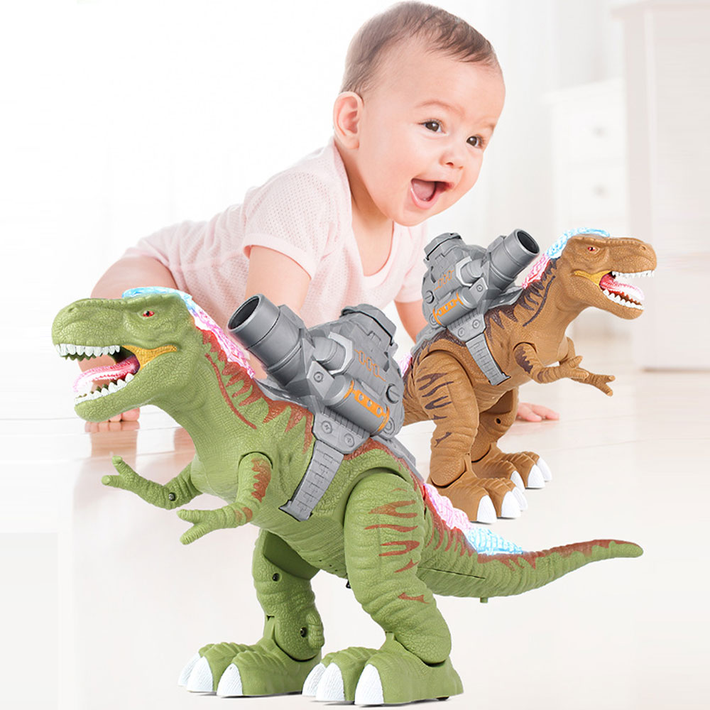 Kids Electric Toy Electric Shooting Robot Mechanical Walking Dinosaur-Shaped Toy Children Dinosaur Model Roaring Toys With Light