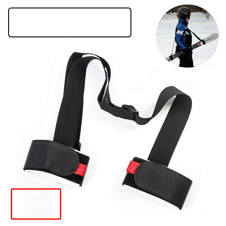 Nylon Skiing Bags Adjustable Skiing Pole Shoulder Hand Carrier Lash Handle Straps Porter Hook Loop Protecting Ski Snowboard -7